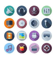 Flat design icons for sound and music vector
