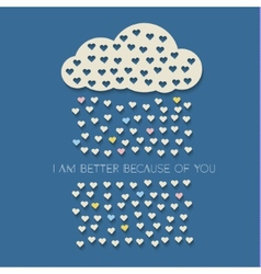Paper heart from cloud on dark blue vector