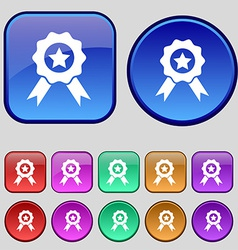 Award medal of honor icon sign a set of twelve vector