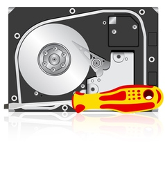 Computer hard disk drive and screwdriver vector