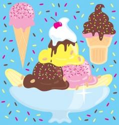 Ice cream sundae party vector