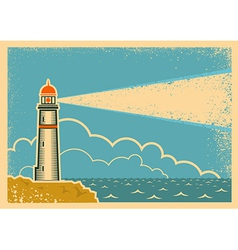 Vintage poster with lighthouse vector