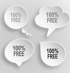 100 free white flat buttons on gray background vector
