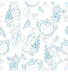 Vintage tea porcelain seamless pattern vector