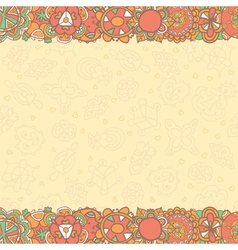 Hand drawn abstract flowers background with empty vector