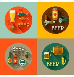 Backgrounds with beer icons and objects in flat vector