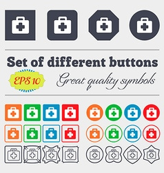 First aid kit icon sign big set of colorful vector