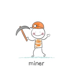 Miner holding a pickaxe vector