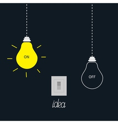 Hanging on and off light bulbs with tumbler switch vector