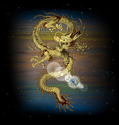 Chinese dragon in space vector