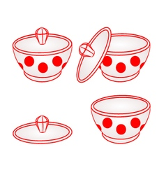 Sugar bowl with red dots part of porcelain vector