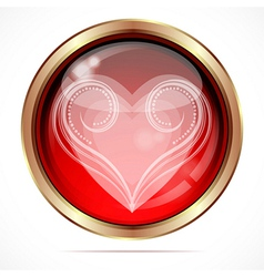 Bright button with the white curls heart shape vector