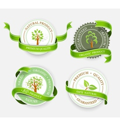 Collection of green stickers vector