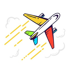 Colorful airplane flying right up among t vector