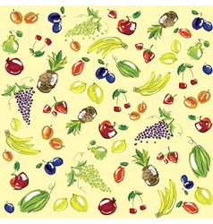 Hand sketched fruit pattern vector