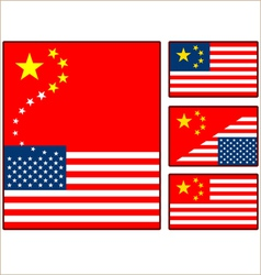 China and united states flags vector