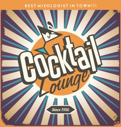 Retro tin sign design for cocktail lounge vector