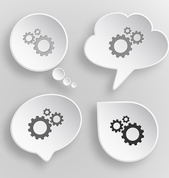 Gears white flat buttons on gray background vector