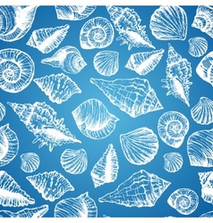 Hand drawn seamless pattern with various seashell vector