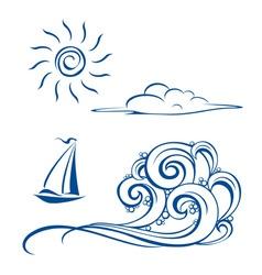 Sea sailing vector