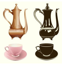 Tea set antique tea pot and cup in color and vector