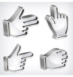 Set of four metallic hand signs vector