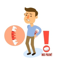 Sick character back pain vector