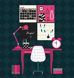 Flat of home office workplace vector
