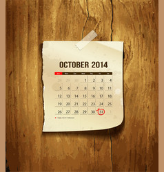 Calendar october 2014 vector