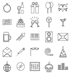 Celebration line icons on white background vector