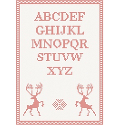 Red knitted alphabet vector
