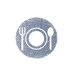Plate with cutlery with hand drawn lines texture vector