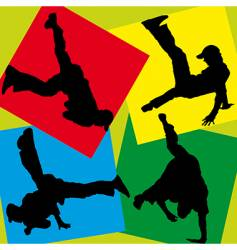 Silhouettes of break-dancers vector