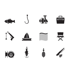 Silhouette fishing and holiday icons vector