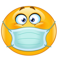 Emoticon with medical mask vector