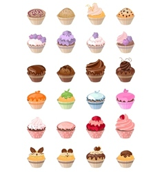 Set with different cakes vector