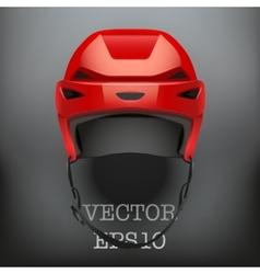 Background of classic red ice hockey helmet vector
