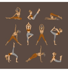 Colored yoga set icons isolated on white vector
