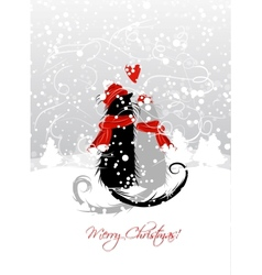 Christmas eve couple of santa cats together vector