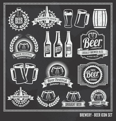 Beer chalkboard icon set vector