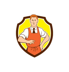 Cook chef pointing shield cartoon vector