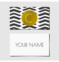 Black white and gold chevron pattern business card vector