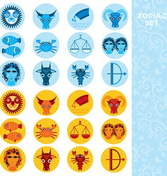 Two sets of funny blue and orange zodiac sign icon vector