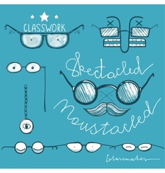 Glasses hand drawn labeles collection vector