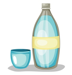 Bottle of water and glass vector