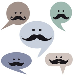 Speech bubble faces with mustaches vector