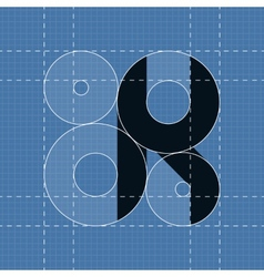 Round engineering font symbol k vector