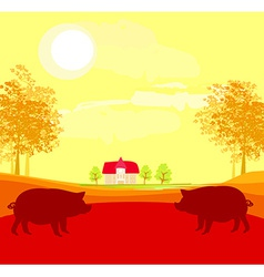 Herd of pigs on nature background vector