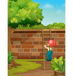 Cartoon worker climbing wall vector