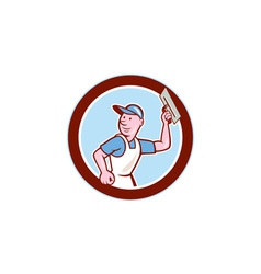 Plasterer masonry worker circle cartoon vector